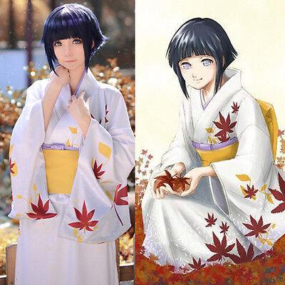 NARUTO Hyuga Hyuuga Hinata Weiß Kimono Yukata Kostüm Cosplay Costume Anime Manga
