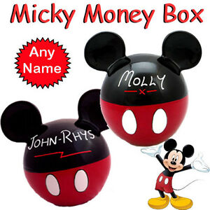 New Classic Disney Mickey Mouse Ceramic Money Saving Bank Personalised Any Name