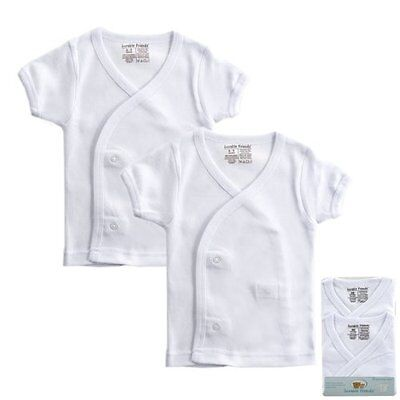 Luvable Friends 2-Pack White Short sleeve Side Snap Shirts Unisex