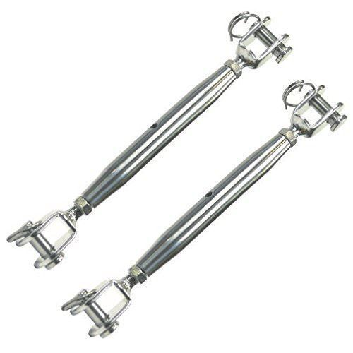 2 Heavy Duty Marine Grade 316 Stainless Steel Jaw/Jaw Closed Body Turnbuckle M10
