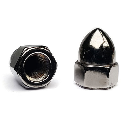 """Black Chrome Steel High Crown Cap Acorn Nuts USA Made - #10-24 to 5/8""""-18 QTY 2"""