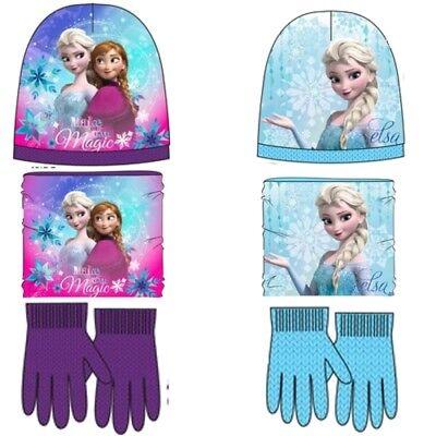 Disney Frozen Mütze Loop Handschuhe Set Schal Halssocke Winter Kinder Set Elsa