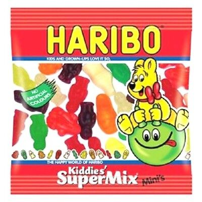 HARIBO SUPER MIX MINI PACKS OF SWEETS WHOLESALE BOX 100 BAGS WEDDING CART - Halloween Sweets Wholesale