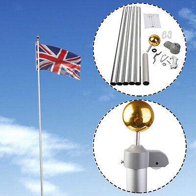 20FT Flag Pole Telescopic Aluminium 5 Joints Flagpole W/ 2 UK Flags & Gold Ball