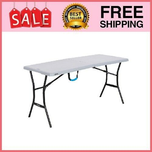 5 Ft Folding Table Centerfold Portable Plastic Home Indoor Outdoor Picnic Party