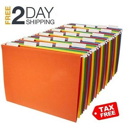 Amazonbasics Hanging File Folders Letter Size 25 Pack Assorted Colors - New