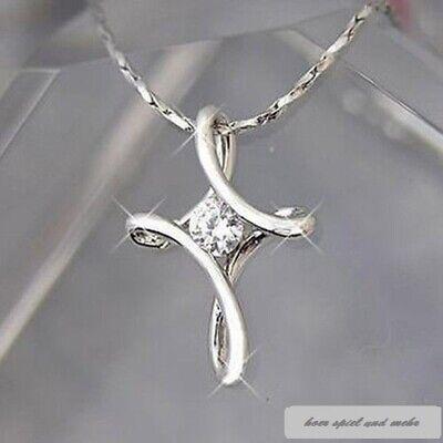 Halskette mit Anhänger Kreuz Jesus Kirche Schwarz Glaube Geschenk Farbe Silber