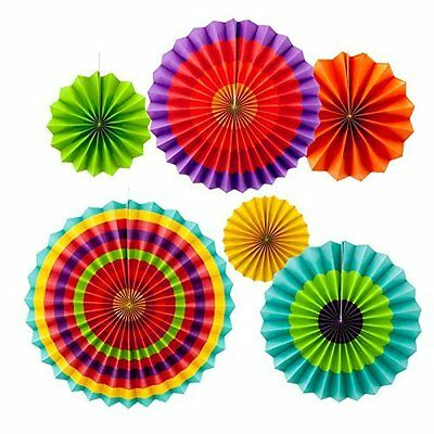 Colorful Fiesta Hanging Paper Fans Party Decorations Party Supplies 8