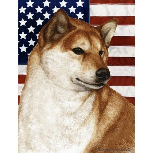 Patriotic (D2) Garden Flag - Shiba Inu 323251
