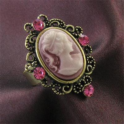 Quartz Antique Style Ring - Antique Gold Vintage Style Cameo Ring Pink Crystal Stone Lady Size Adjustable o9
