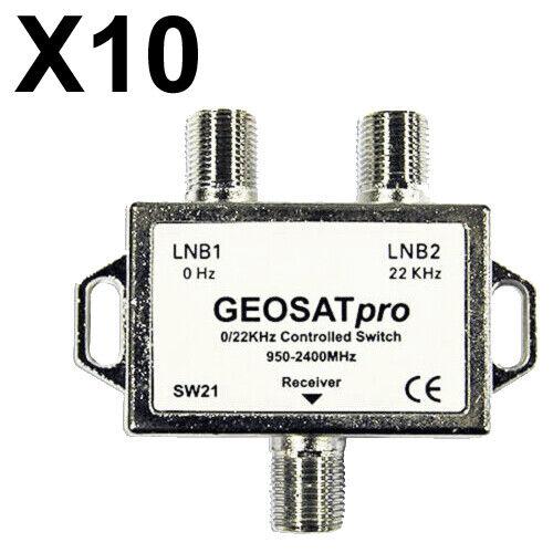 10 PCS - GEOSATpro 22KHz Tone Controlled Switch 0/22KHz 2x1 Switch FTA SW21