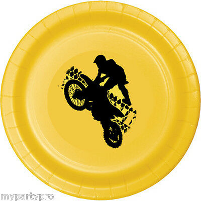 MOTORCYCLE EXTREME DINNER PLATE BIRTHDAY Party Supplies FREE SHIPPING NEW - Motorcycle Birthday Party Supplies