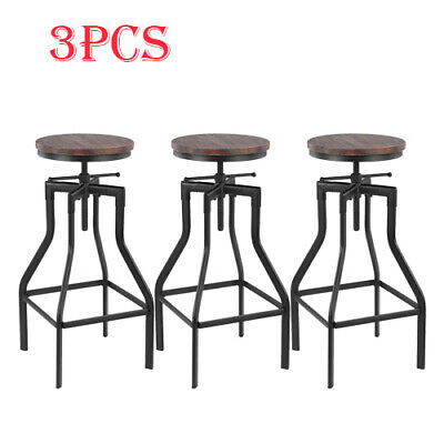 Set of 3 Rustic Bar Stools Industrial Metal Wood Seat Top Adjustable Swivel Desk