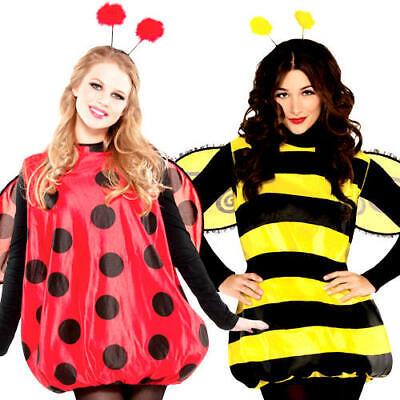 Bug Ladies Fancy Dress Ladybird Ladybug Bumble Bee Insect Animal Adults Costumes - Bumble Bee Fancy Dress Costume Adults