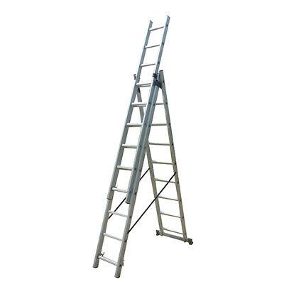 Escalera profesional multiusos triple y extensible 3 x 11 peldaños de aluminio