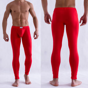 Mens-Solid-Color-Underpants-Long-Johns-Pants-Thermal-Low-Rise-Underwear-M-L-XL