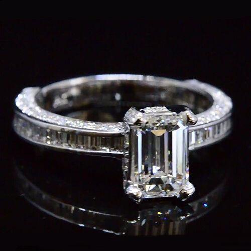 2.49 Ct Emerald Cut Diamond Engagement Ring Baguette Accents E,VS1  GIA 14K WG