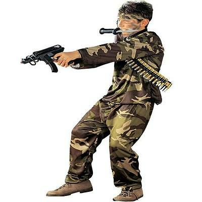 Armee Kinder Kostüme (KÄMPFER KOSTÜM Kinder Camouflage Soldat Armee Militär Fasching 128 140 158)
