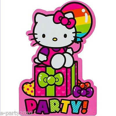 Hello Kitty Birthday Party Invitations - HELLO KITTY Rainbow INVITATIONS (8) ~ Birthday Party Supplies Stationery Cards