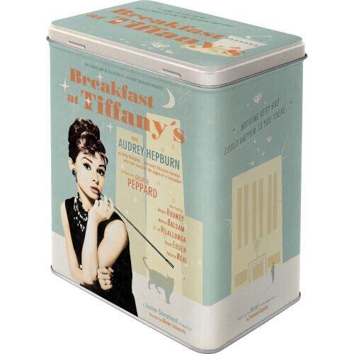 Large Retro Embossed Storage Tin AUDREY HEPBURN - BREAKFAST AT TIFFANY