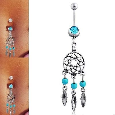 Body Belly Piercing Navel Bar Button Rings Crystal Rhinestone Dangle Jewelry Hot