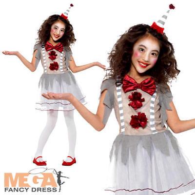 Vintage Clown Girls Fancy Dress Fun Halloween Childrens Kids Circus Costume New