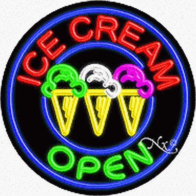 Brand New Ice Cream Open 26x26x3 Round Real Neon Sign Wcustom Options 11150