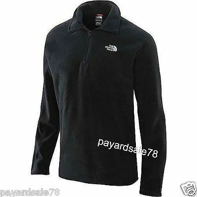MEN'S THE NORTH FACE 1/4 ZIP FLEECE GLACIER JACKET BLACK PULLOVER SIZE LARGE NEW