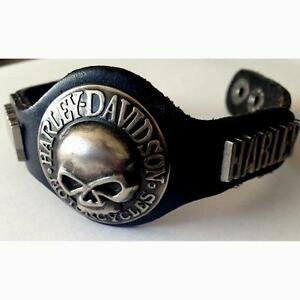 SKULL AND HARLEY LEATHER BRACELET NEW 60% OFF CLEARANCE
