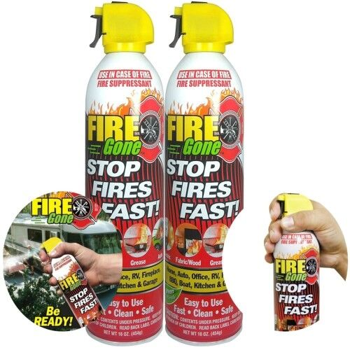 Fire Gone 2NBFG2704 White/Red Fire Suppressant Canisters - 1