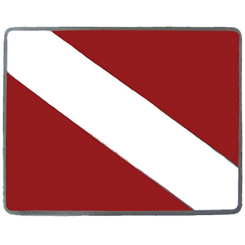 scuba red and white metal trailer hitch cover