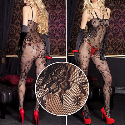 Net Bodystocking - Black Floral Rose Lace Net Crotchless Bodystocking Bodysuit Pantyhose Lingerie