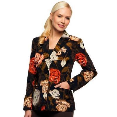 Susan Graver Size 1X Orange Flower Peachskin Polyester Single Breasted Blazer - Flower Blazer