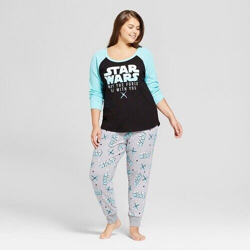 Women's Star Wars 2pc Thermal Pajama Set – Black/Blue/Gray XL (NWT) Clothing, Shoes & Accessories