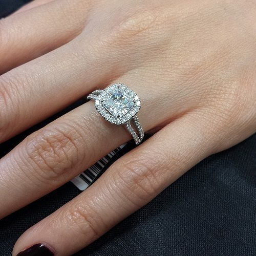1.70ctw Natural Cushion Cut Halo Split Shank Diamond Engagement Ring - GIA Cert