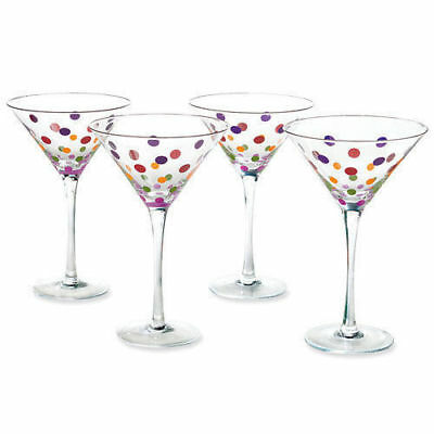 The Pampered Chef- Colored Dot Stemware Set of 4 Martini Glasses Retired