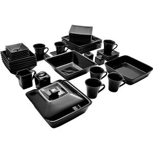 45-Piece-Black-Square-Serving-Banquet-Dinnerware-Kitchen-Plate-Street-Nova-Set
