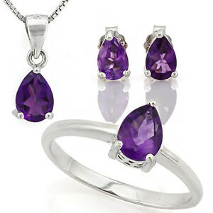 Amethyst 925 Sterling Silver Necklace, Earrings, Ring Set