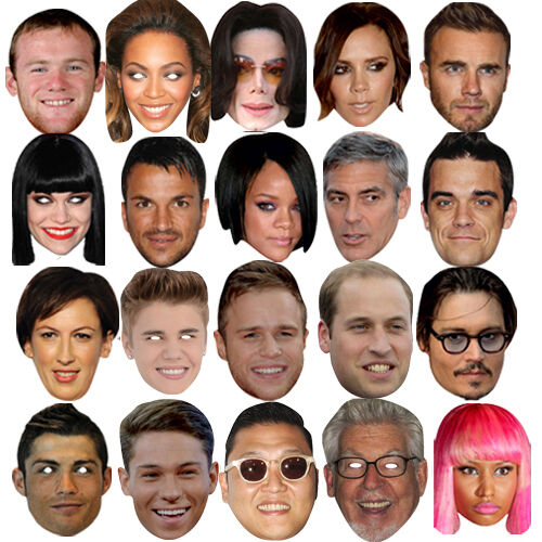 10 X CELEBRITY FACE PARTY BIRTHDAY MASKS STAG DO FANCY MASK DRESS HEN PARTY