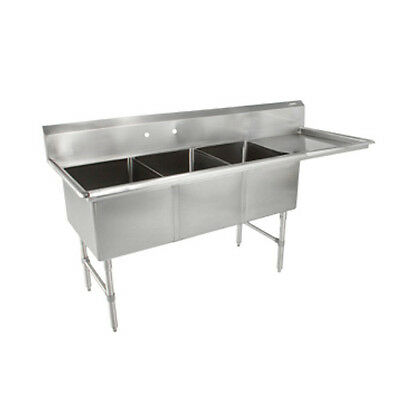 John Boos 3b244-1d24r Three Compartment Sink W 24 Right Drainboard
