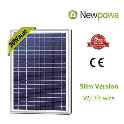 NewPowa High Effciency 20W Watt 12V Poly Solar Panel Module Marine Off Grid Boat