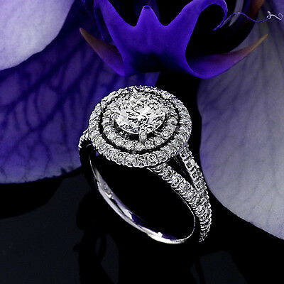 2 CT Diamond Engagement Ring Round Cut 14K White Gold D SI Enhanced