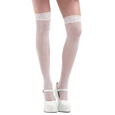 White Thigh-High Fishnet Halloween Adult Women's Cosplay Costume Tights