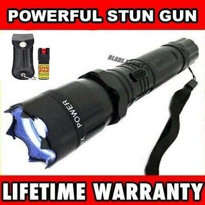 Metal Military Stun Gun 999 Million Volt Rechargeable Flashlight W Pepper Spray
