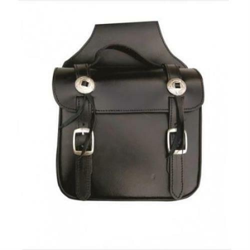 Black Plain Leather Square Throw Over Saddle Bag
