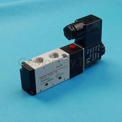 "4V210-08 DC12V Pneumatic Air Valve Electric Solenoid Valve 5 Way 2 Position 1/4"""