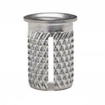 E-Z Press Threaded Insert for Plastic - Flanged - Stainless - 10-32 (260-332-CR)