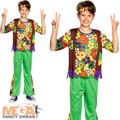 70s Costumes For Boys (Woodstock Hippie Boys Fancy Dress 1960s 70s Hippy Childrens Kids Costume)