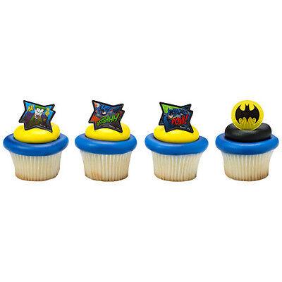 Batman Comic Book Superhero Cupcake Topper Rings - Set of 12