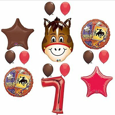 Wild West Cowboy Western 7th Birthday Party Supplies and Balloon Decorations - Cowboy Birthday Party Supplies